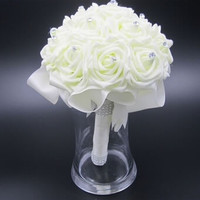 Beautiful Wedding Bouquet Bridal Bridesmaid Flower wedding bouquet artificial flower rose bouquet Cream bridal bouquets = 1931925892