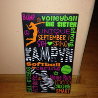 """Personalized Wooden Softball Catcher and Volleyball Sign Teen 12x20"""""""