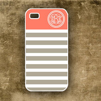 iPhone 4 case -  Monogrammed chevron,  dusty tangerine with gray - customized Iphone 4s cover (9877)