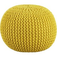 Knitted Yellow Pouf