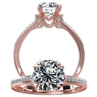Victorian inspired 14k Rose gold Diamond Ring Engagement Ring 1.25 ct VVS White Sapphire W18WS14R