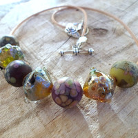 Lampwork Necklace, Lampwork Jewelry, Handmade Jewelry with Handmade Glass Beads, Christmas gift for her