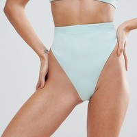 ASOS Mix and Match High Leg and High Waist Bikini Bottom in Rib at asos.com