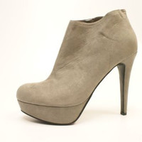 Guess G Elira Silver Suede High Heel Booties Women's 8 M