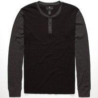 Shouthouse Color Block Mens Henley Thermal Black  In Sizes