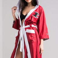 Champion Women's Boxing Robe in Black, Sideline Red