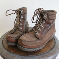 Vintage 80s Classic Brown Leather Hiking Boots // Women's Lace Up Ankle Boots Sz 8