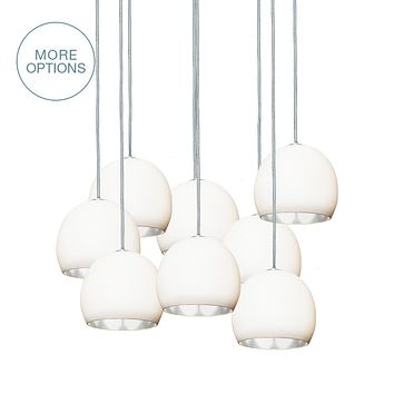 """5"""" Matte White & Silver Leaf Clay Multiple Stagger Pendant Chandelier"""