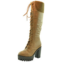 Womens Knee High BootsChunky High HeelPlatform Lace Up Taupe