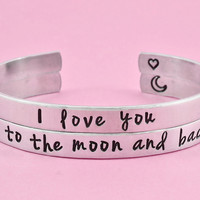 I love you to the moon and back - Hand Stamped Cuff Bracelets Set, Forever Love Bracelets, Mother Daughter Bracelets, Friendship Gift