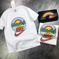 """DSM x Nike"" Unisex Casual Fashion Rainbow Print Couple Short Sleeve Cotton T-shirt Top Tee"