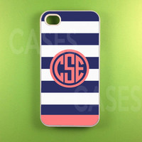 Monogrammed Iphone 4 Case, Monogram Iphone 4s Case, Iphone 4 s Cover - Blue Pink Strip