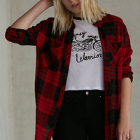 Gypsy Warrior Long Sleeve Button-Down Plaid Shirt at PacSun.com
