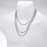 """Jewelry Kay style Men's Gold / Silver Plated Iced Triple Set Tennis Chain Necklace 18"""" / 22"""" / 24"""""""