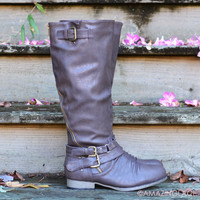 Buckle Down Brown Zipper Riding Boots