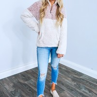Snuggle Up Pull Over: Dusty Pink/Off White