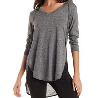 Black Combo Marled V-Neck Hoodie by Charlotte Russe