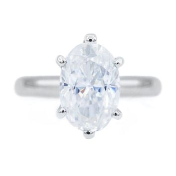 Skinny Oval First Crush FAB Moissanite 6 Prongs FANCY Solitaire Ring