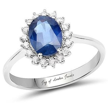 SALE   Ethically Mined 14K White Gold 1.5CT Oval Cut Blue Sapphire & White Diamond Halo Engagement Ring
