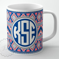Personalized Coffee Cup - Tribal Aztec pattern - Blue,Gray and Coral Pink, custom name or initials, monogrammed mug + FREE COASTER