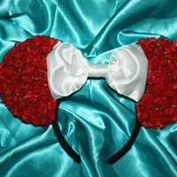Roses Floral Mouse Ears Headband (Full coverage on back!)