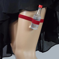 Adjustable Single Shot Garter - deep red - can wear under maxi dress - alcohol not included