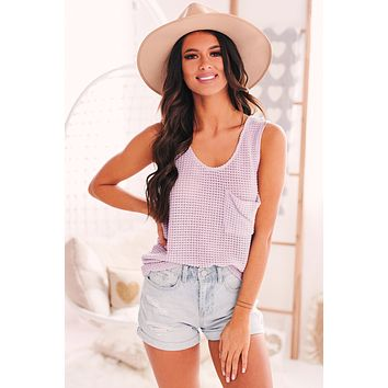 Running In Circles Waffle Knit Tank Top (Lavender)
