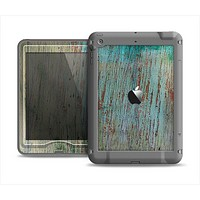 The Chipped Teal Paint on Aged Wood Apple iPad Mini LifeProof Nuud Case Skin Set