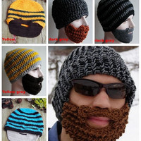 Novelty!Winter mask knit beard hat beanie hat for mens and women  bonnet men slouchy beanie snowboard mask = 1957999876