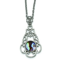 Stainless Steel Polished Imitation Abalone w/2in. Ext Necklace SRN2219