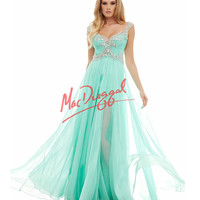 Flowing High Slit Mint Green Gown