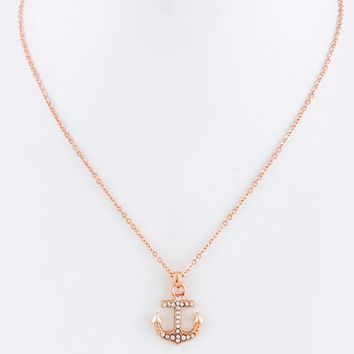 Crystal Anchor Charm Necklace