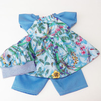 """3p Blue Flower Dragonfly Dress Hat HANDMADE Clothes for Bitty Baby 15"""" Girl Doll"""