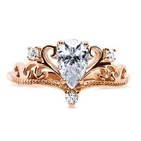 SALE   The Crown, A Vintage Style 14K Rose Gold .90CT Pear Cut Russian Lab Diamond Engagement Ring