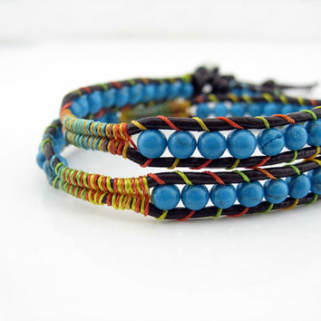 2 Wraps Turquoise Beaded Weave Simulated Leather Wrap Bracelet