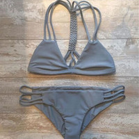 Sexy Women Bandage Solid Gray Bikini Set Swimsuit Beach Bathing Suits