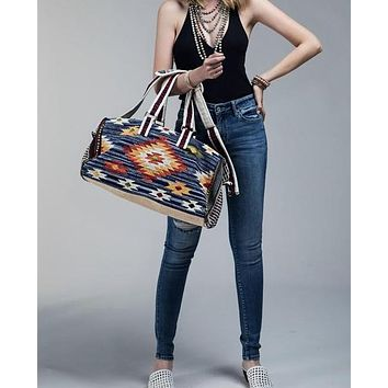 Blue Denim  Boho Chic Navajo Pattern Weekender Duffle Bag