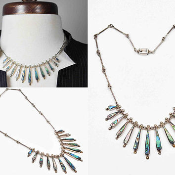 Vintage Mexico Sterling Silver & Abalone Necklace, Graduated Drops, Multi-Pendant, Twisted Link Chain, Handmade, Gorgeous! #c459