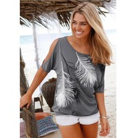 Cheap Clothes For Women Plus Size 4XL 5XL T-Shirts Top Female Ladies Feather Print Blouse Womens Short Sleeve Tops blusa AY302