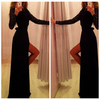 Black Sequin Long Sleeves Maxi Slit Dress