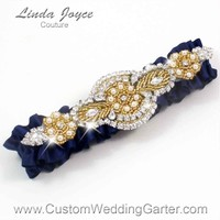 """Navy Blue and Gold Pearl Beaded Wedding Garter """"Charlotte 01"""" Gold"""