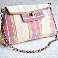 Small Pink Fabric Bag - Small Evening Handbag - Valentine's Party clutch