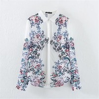 2017 Fashion New Summer Full Sleeve Blouse Women Plus Size Tops Casual Turn-down Shirt Floral Print Blasus With Button 72325