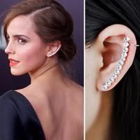 Hot Sale Promotion Crystal Ear Cuff Fashion Earrings Women's Jewelry Simple Stylish Simulated Pearl Clip Earrings for Women