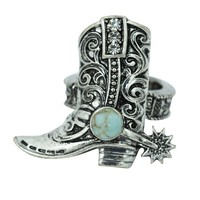Western Cowgirl Rodeo Girl Cowboy Boot Ring