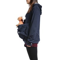 Womens Hoodies Pet Holder Cat Dog Kangaroo Pouch Carriers Pullover