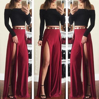 Open Fork Solid Two-Piece Dress