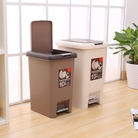 10L PVC Trash Can Foot Hand Press Trash Can Home Living Room Bedroom Kitchen Bathroom