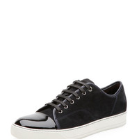Lanvin Suede & Patent Leather Low-Top Sneaker, Navy
