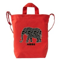 Personalized Black and White Swirl Elephant on Red Duck Canvas Bag